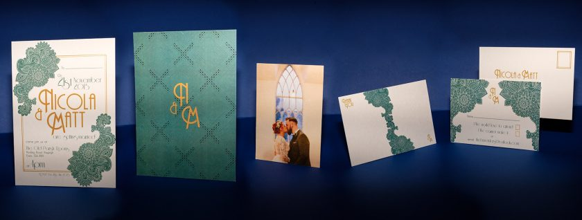 Art Deco and Mendhi Themed Wedding Invitation | Nicola & Matt
