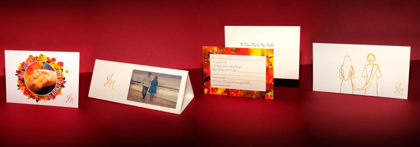 Autumn Themed Folded Wedding Invitation with a transparent photo | Niki & Joe