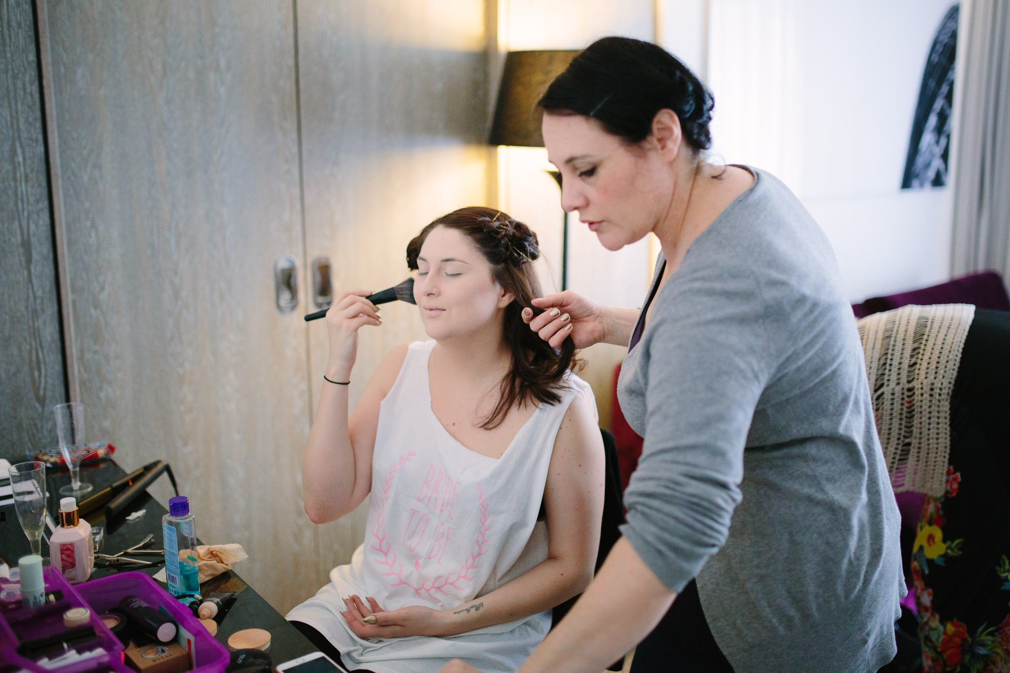 Bride getting ready at Hilton Hotel Angel Islington