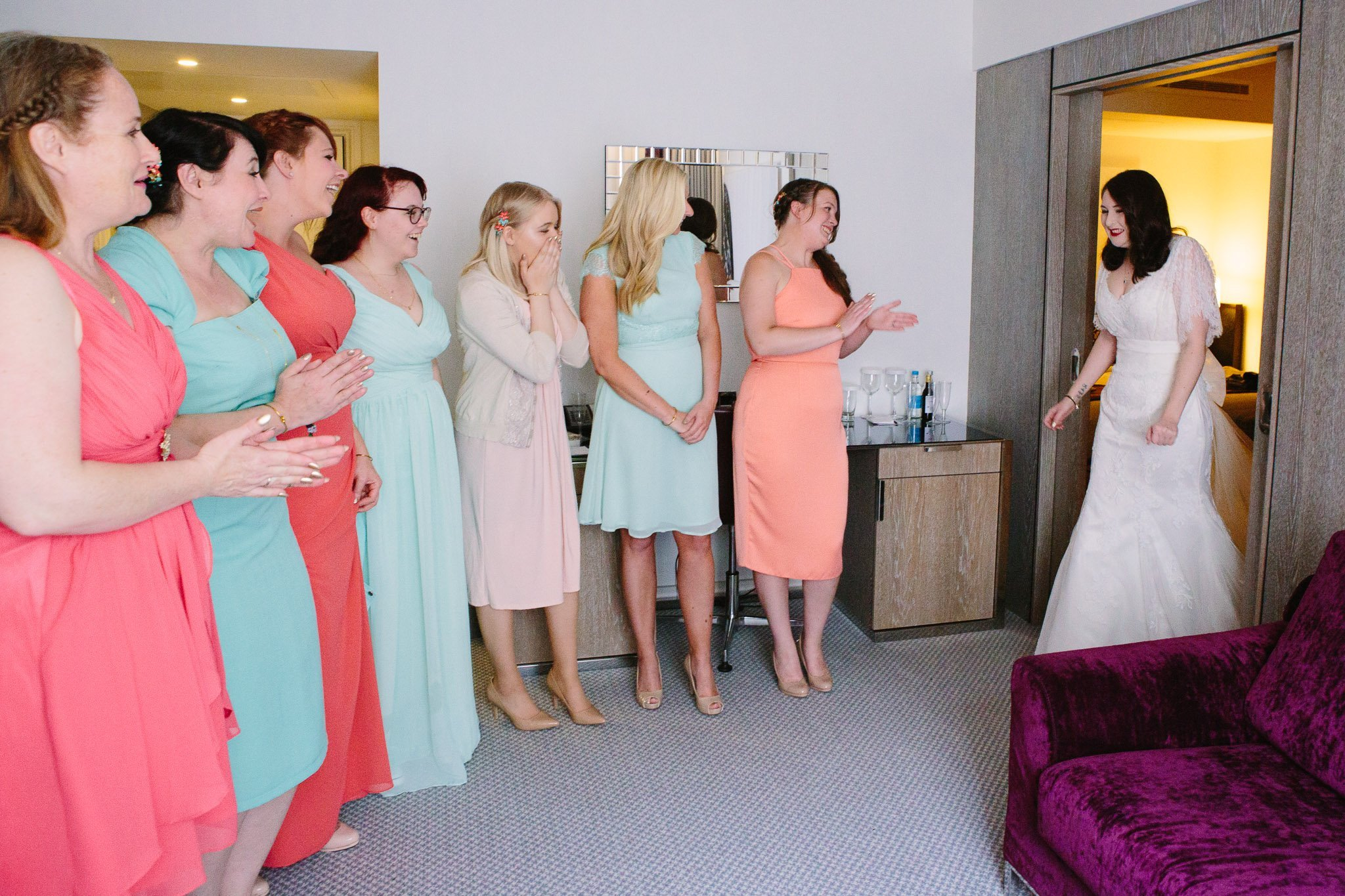 Bridesmaids first look at bride at Hilton Hotel Angel Islington