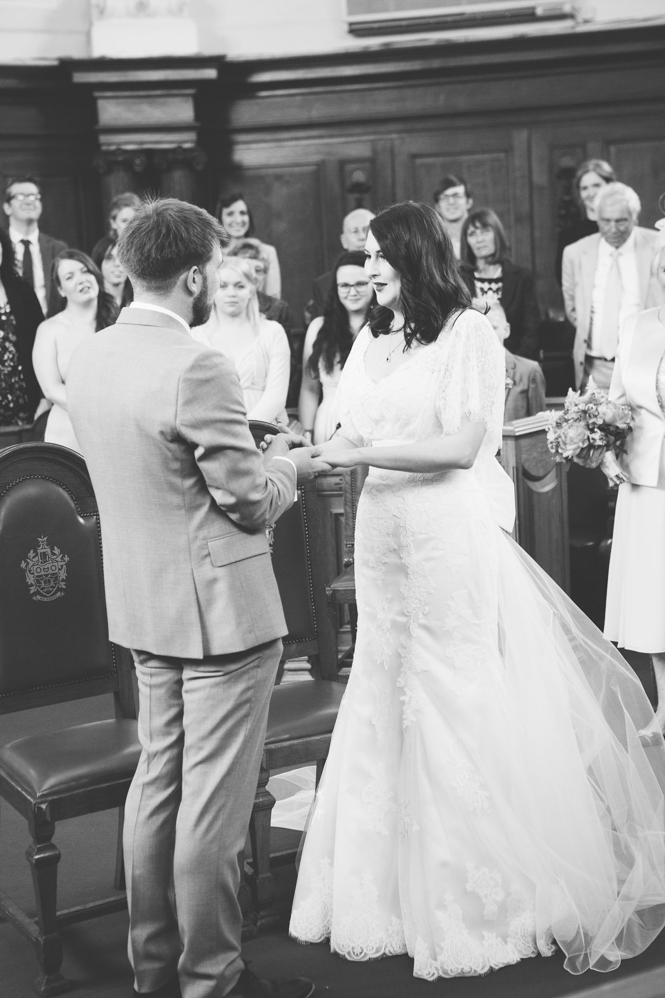 Exchanging of rings at Islington Town Hall Wedding