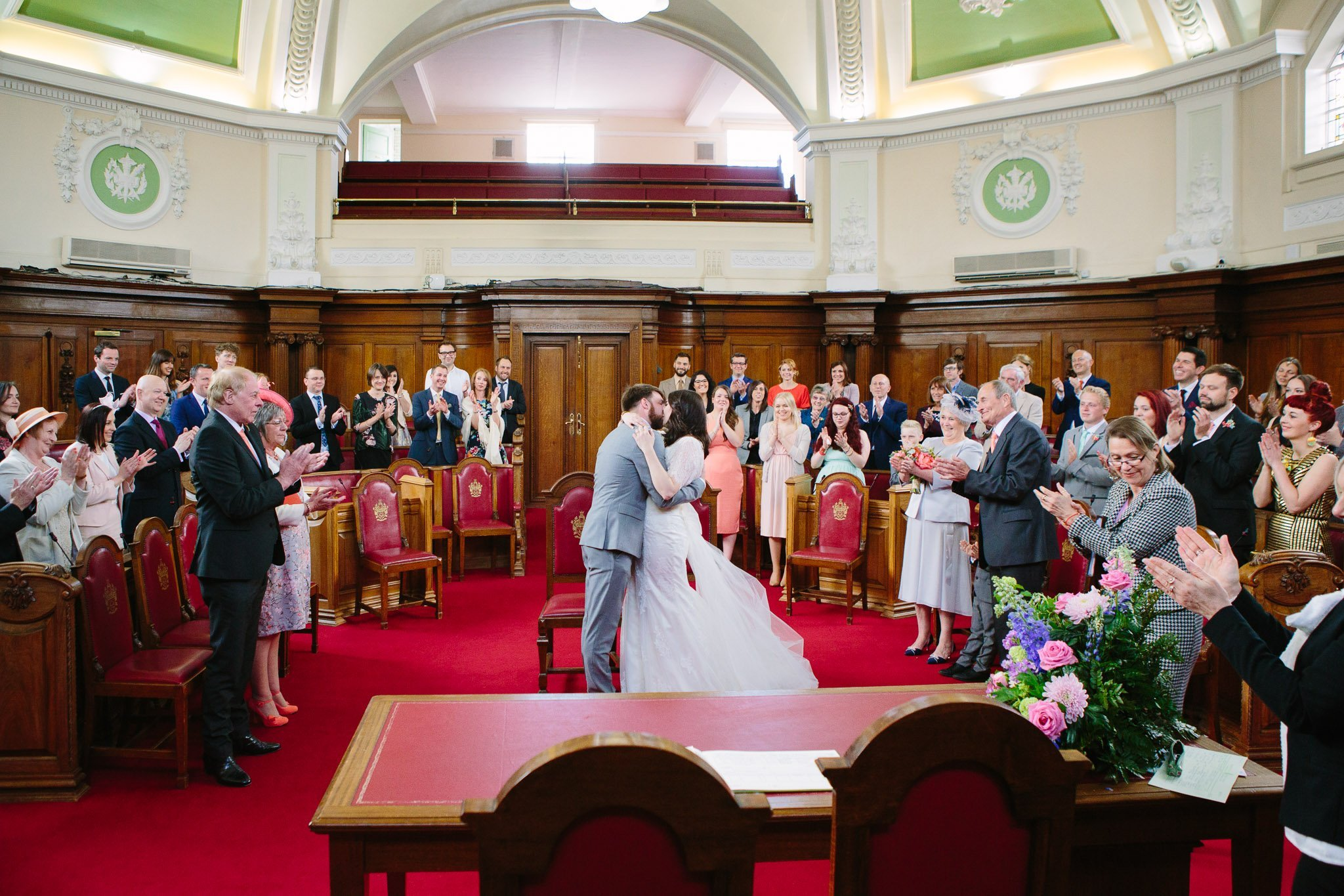 First kiss at Islington Town Hall Wedding
