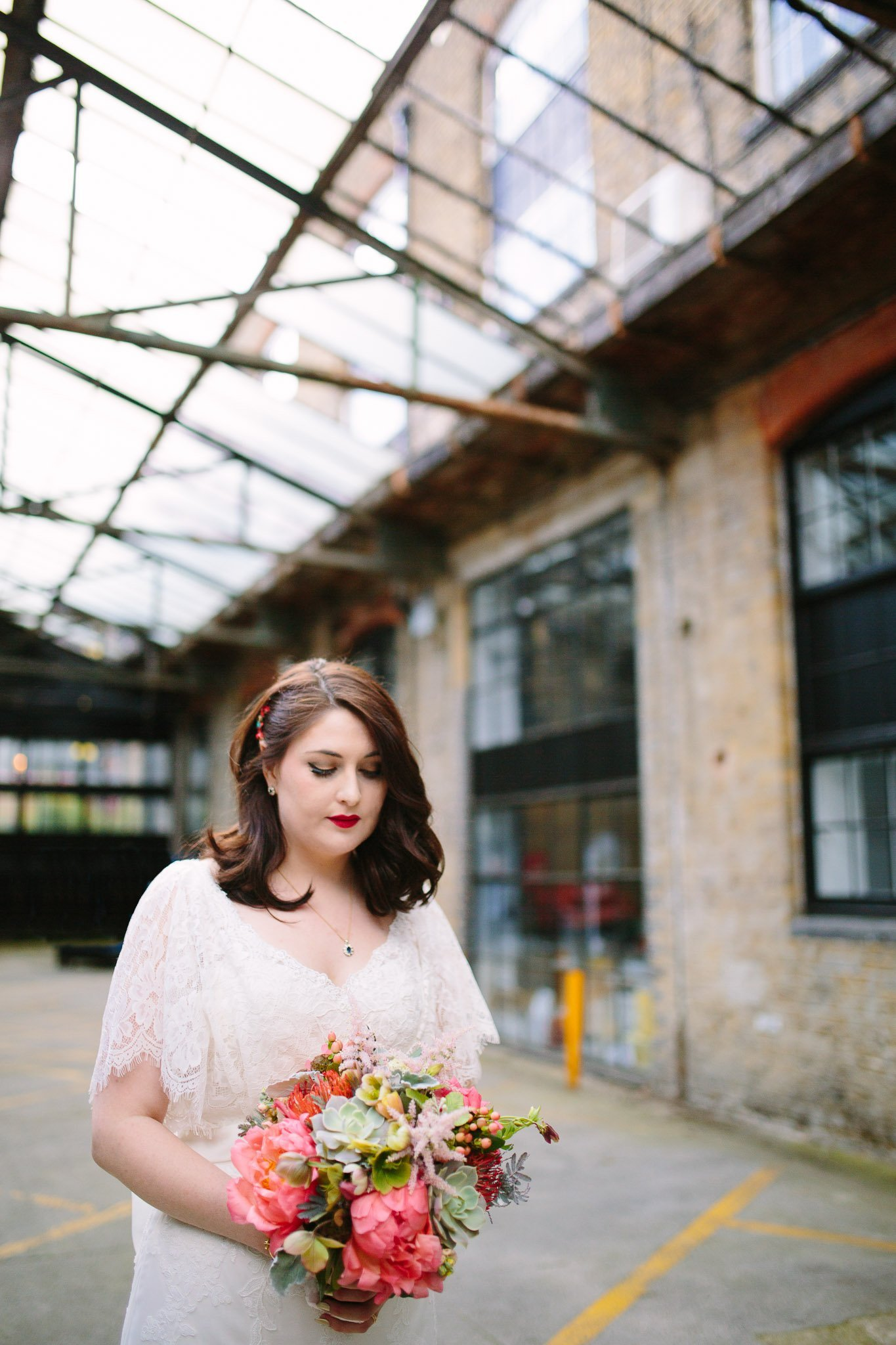 Bride portrait outside The Depot Carpenter's mews