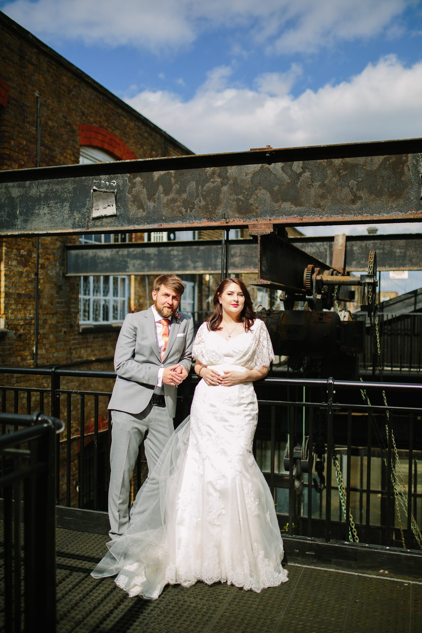 Industrial alternative Couple portrait outside The Depot Carpenter's mews