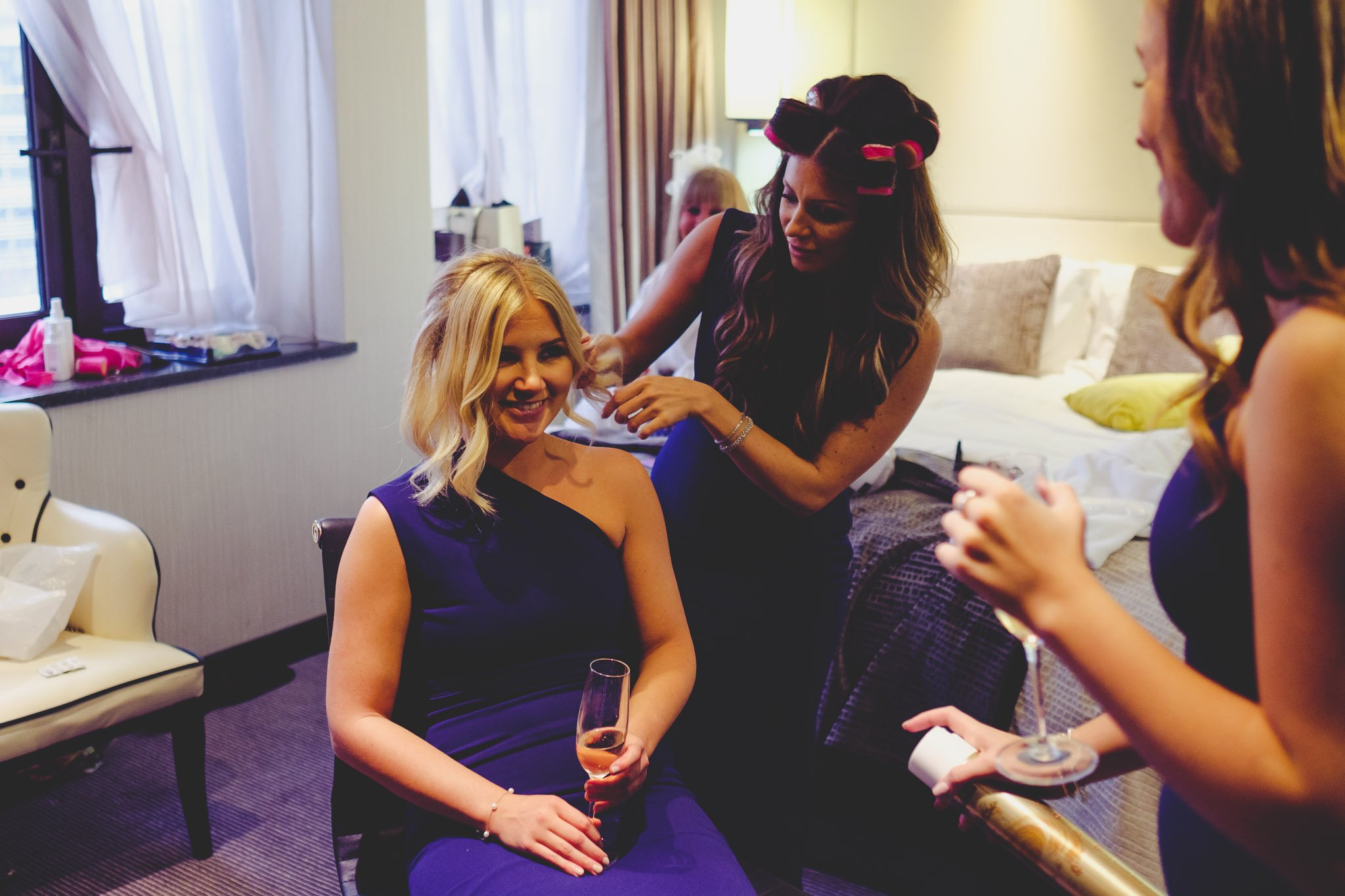 Bridesmaids getting ready at The Montcalm Hotel Finsbury Square London