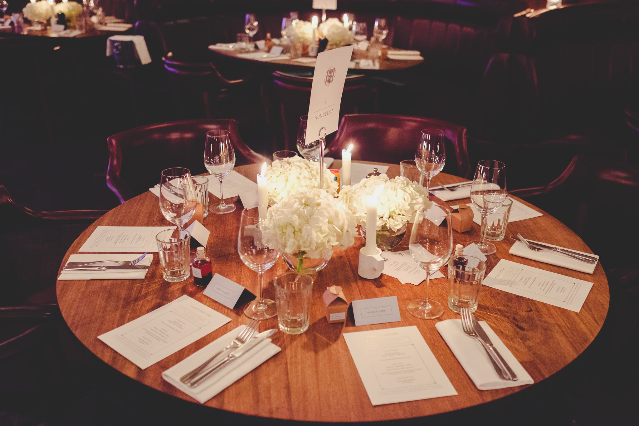 Wedding table decoration at Hawksmoor Steakhouse in Guildhall London