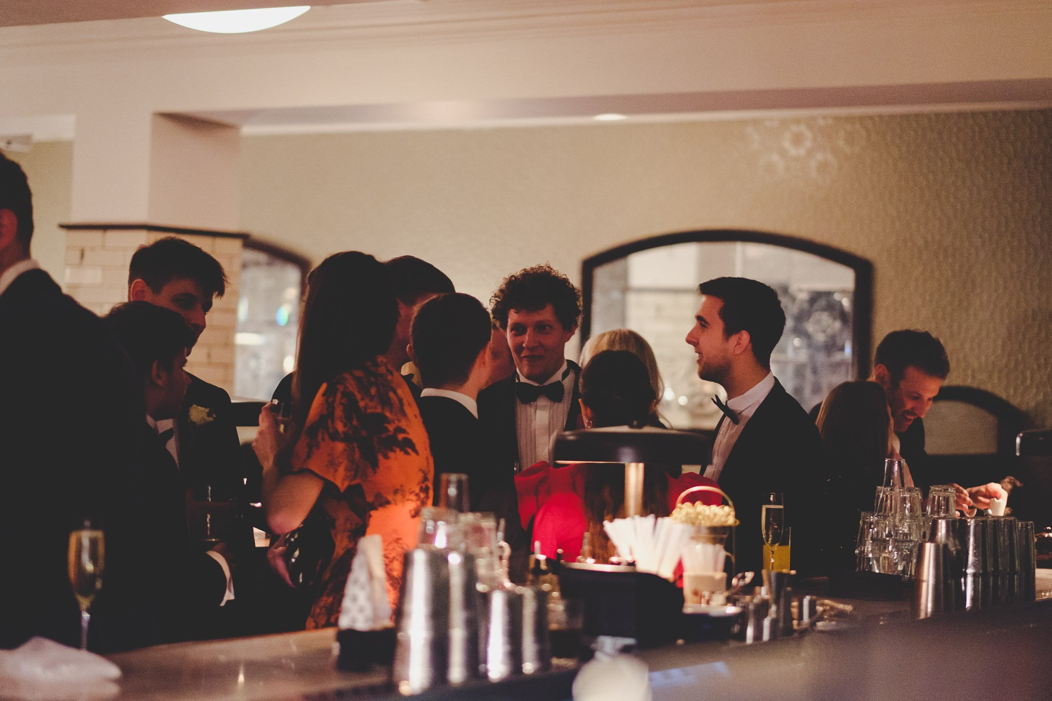 Wedding guests at Hawksmoor Steakhouse in Guildhall London
