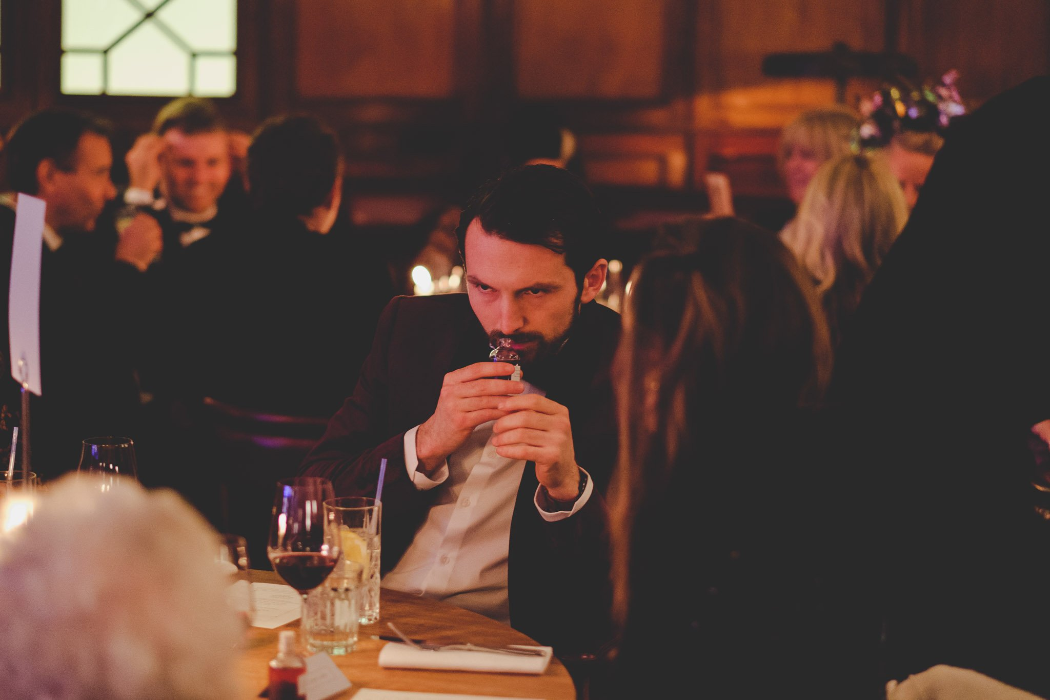 Wedding guest smells Gin at Hawksmoor Steakhouse in Guildhall London