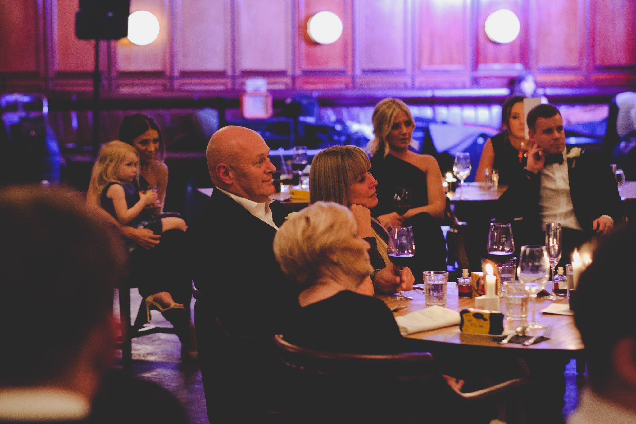 Emotional wedding guests at Hawksmoor Steakhouse in Guildhall London
