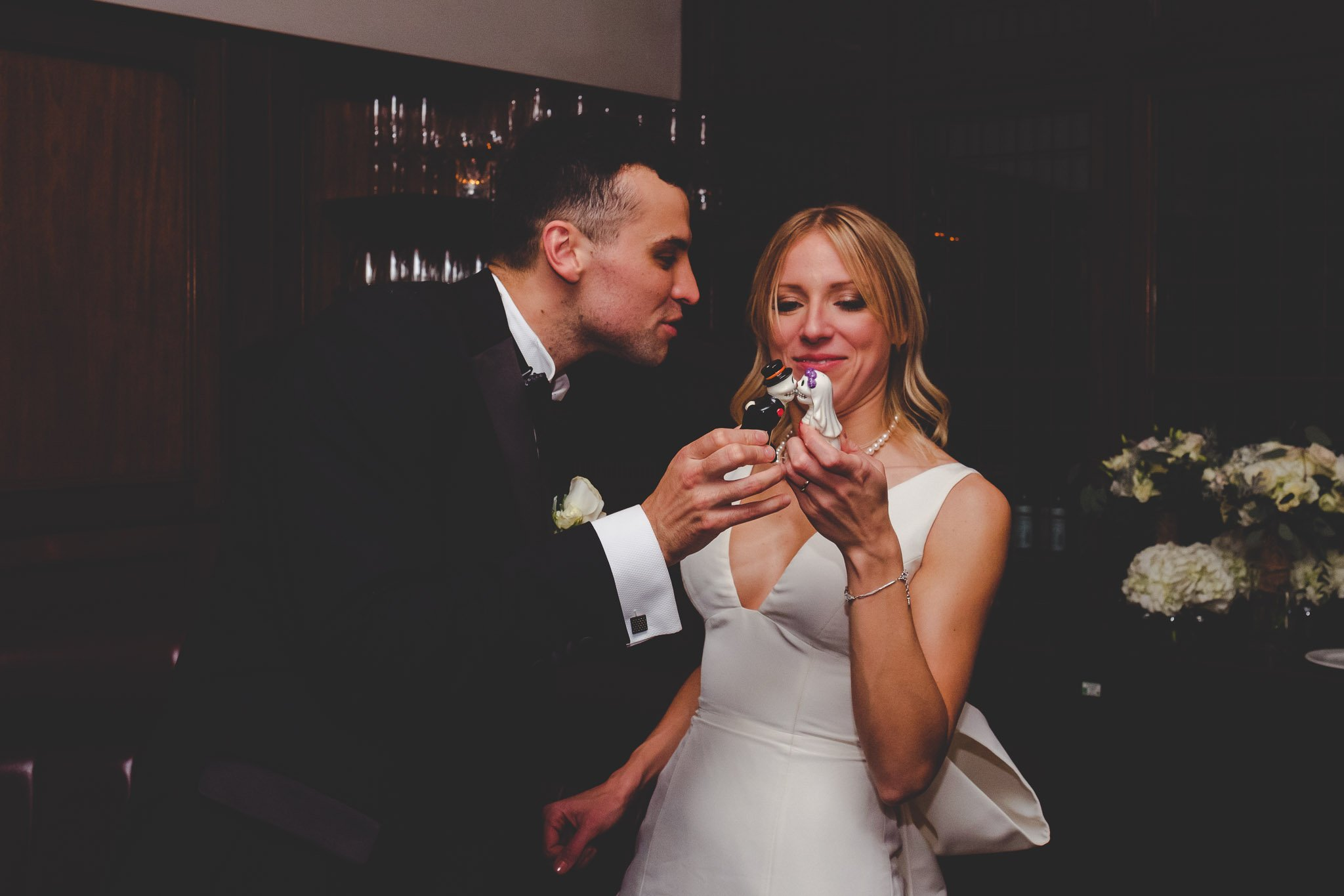 Bride & Groom kiss at Hawksmoor Steakhouse in Guildhall London