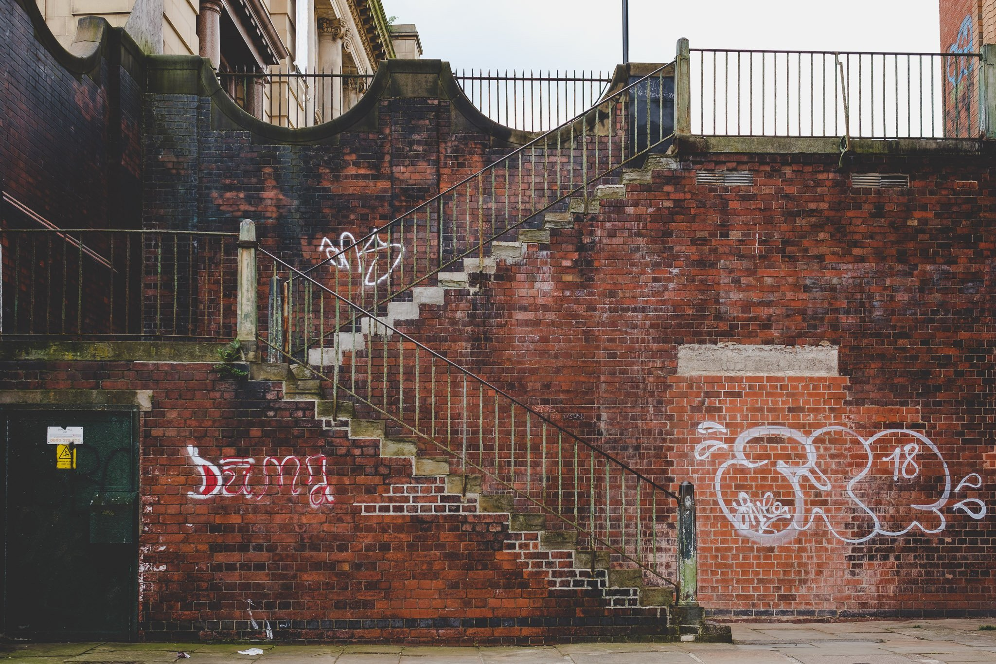 Side view of brick stairway in Sheffield
