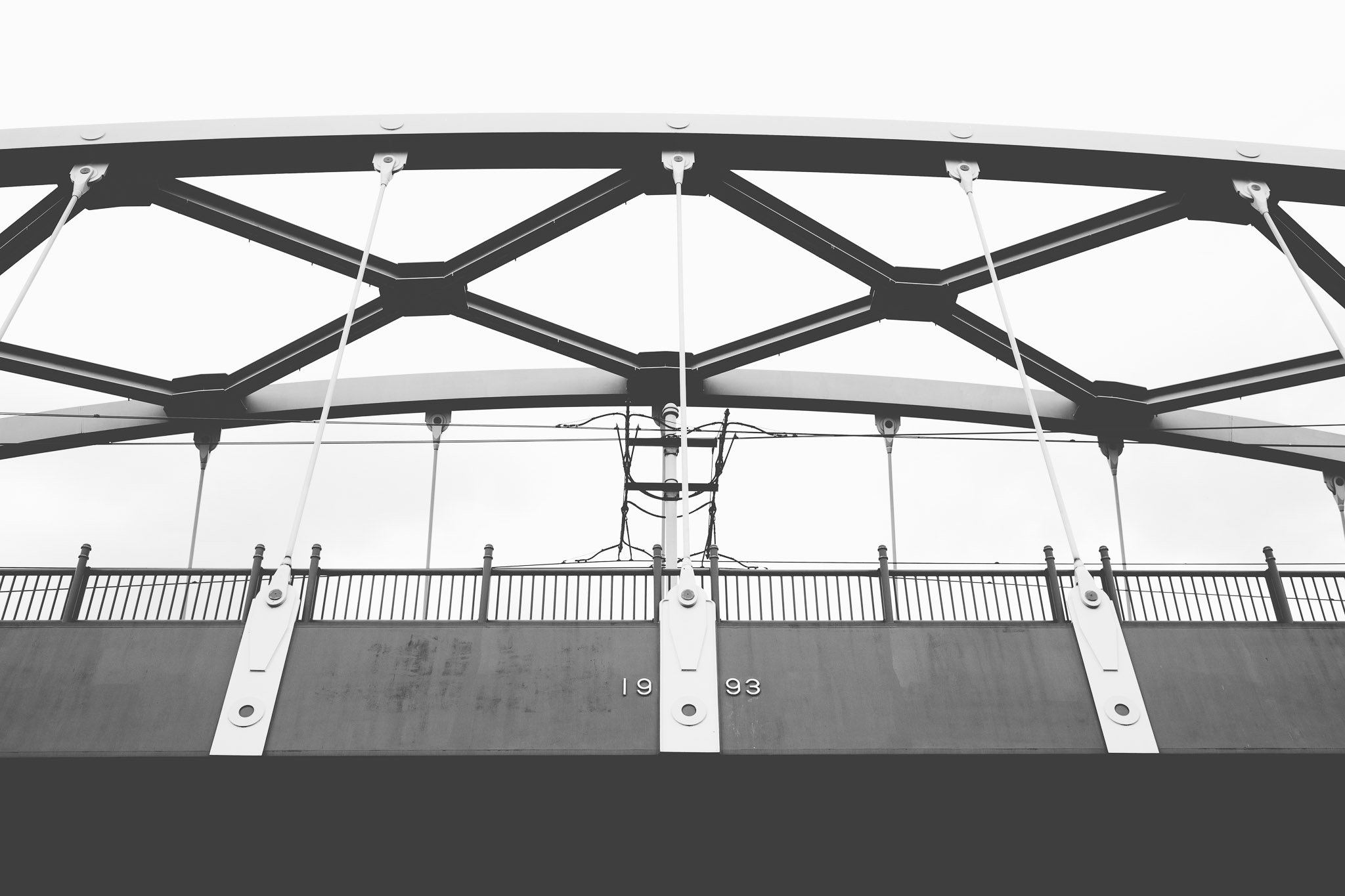 Detail of Tram bridge in Sheffield