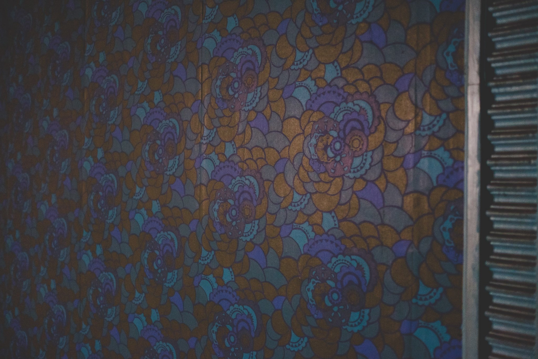 Detail of flowered wallpaper at Abbeydale Picture House in Sheffield