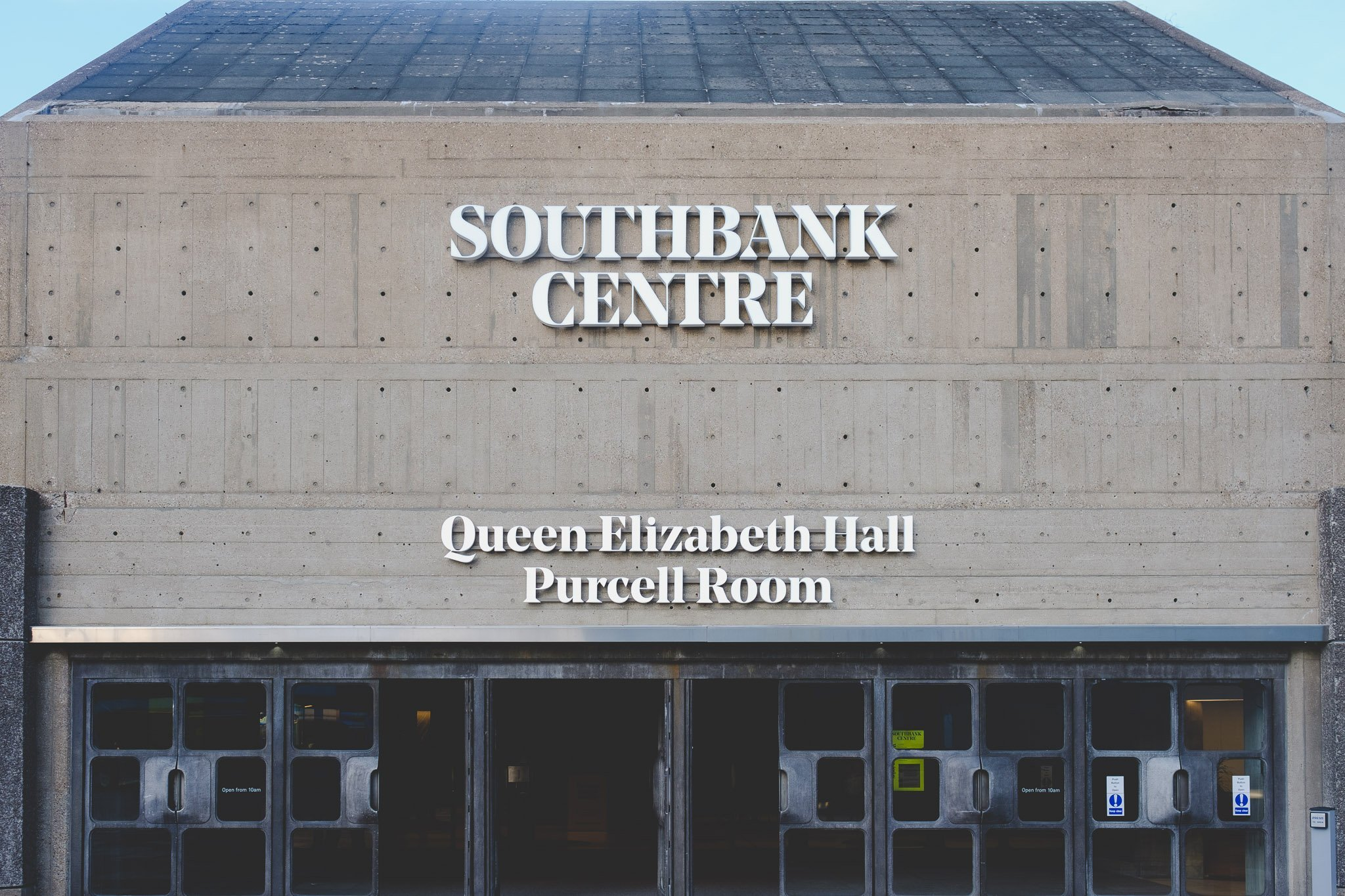 Front view of The Queen Elizabeth Hall Purcell Room at the Southbank Centre in London