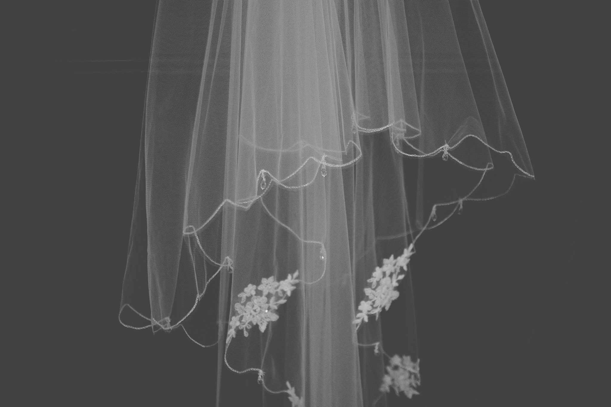 Close up details of wedding veil