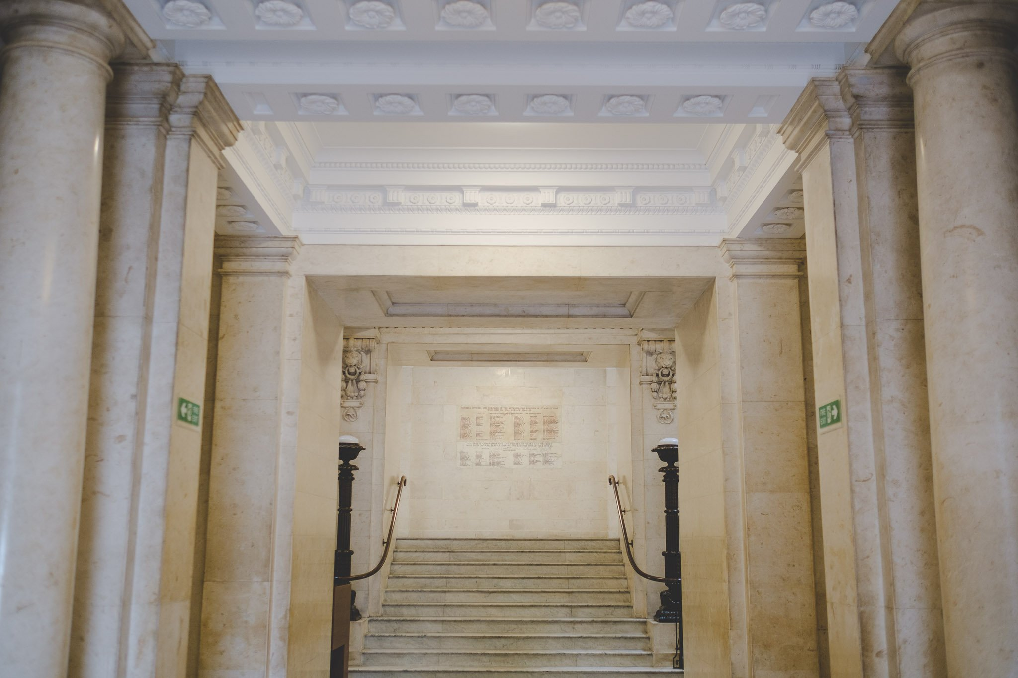 The interior staircase of the Old Marylebone Town Hall London