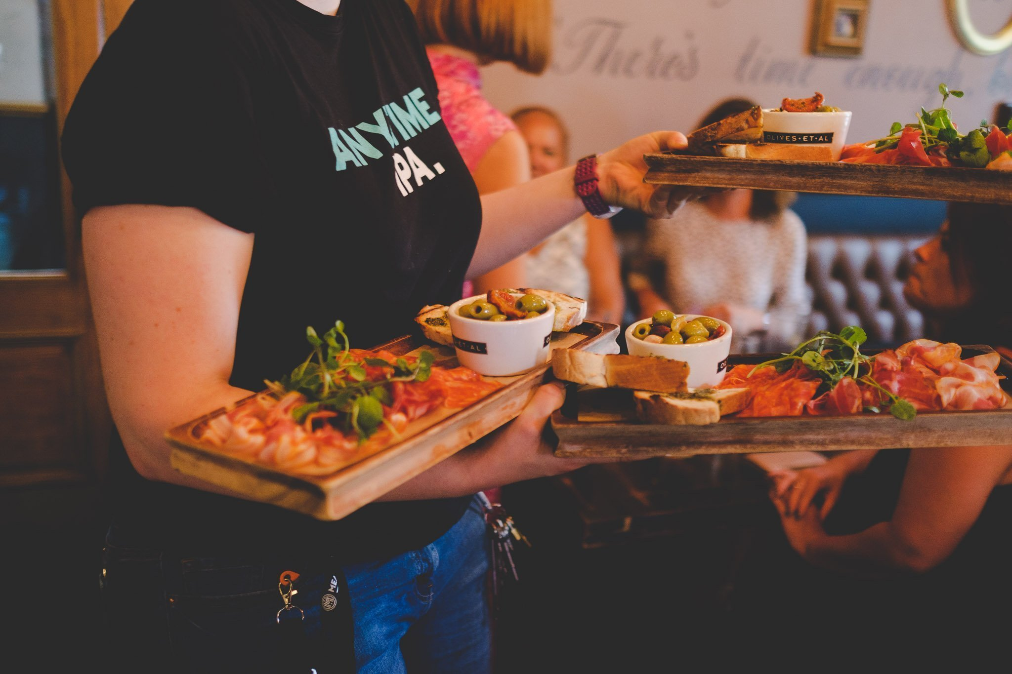 Food being served at a wedding reception at The Marquis Cornwallis Pub in Bloomsbury London